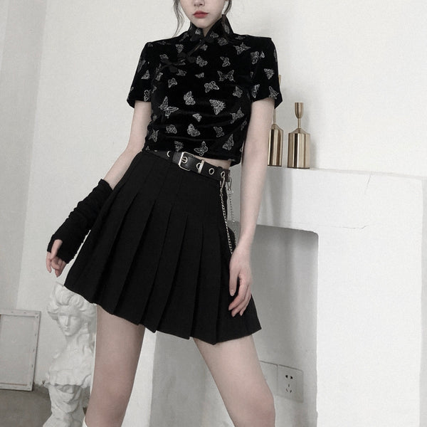 Harajuku Butterfly Top + Black Pleated Skirt Set DB5639