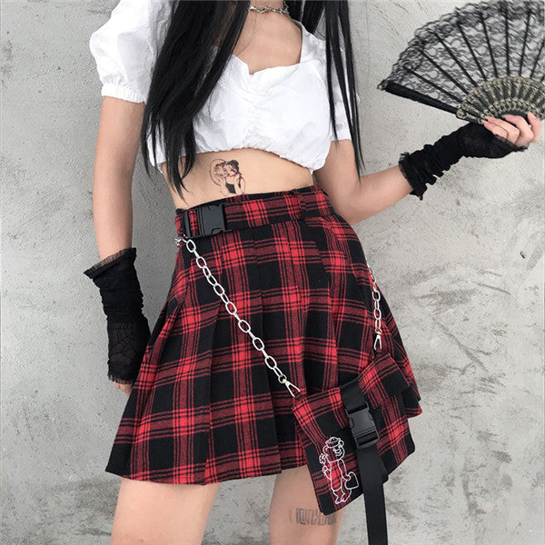 Punk red and black checked pleated skirt DB4954