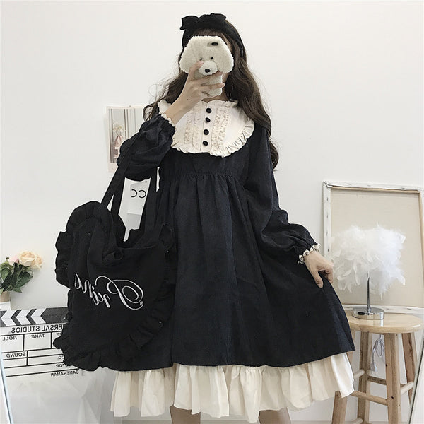 Lolita black+white dress DB6255