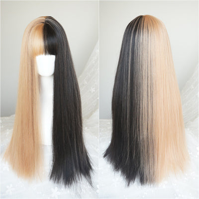 Black gold two-tone long  wig DB4133