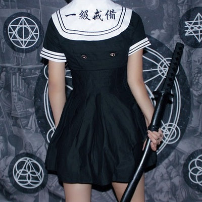 Dark Embroidered Sailor Dress DB4043