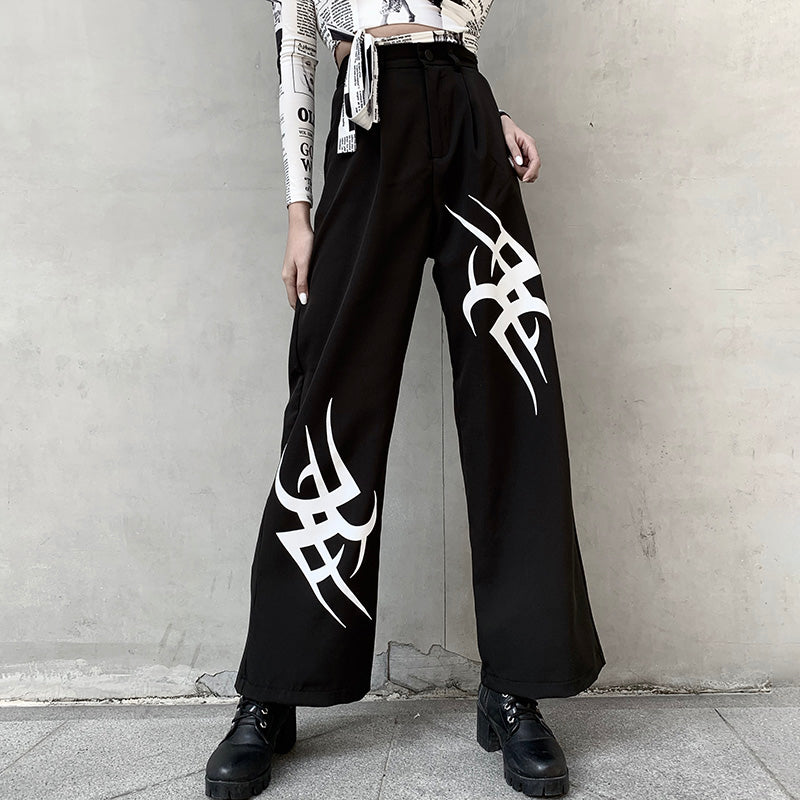 Dark printed straight trousers DB5028
