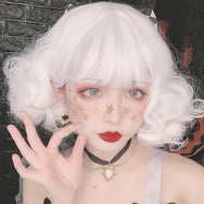Harajuku Lolita Milk White Short Curly Hair Wig DB5191