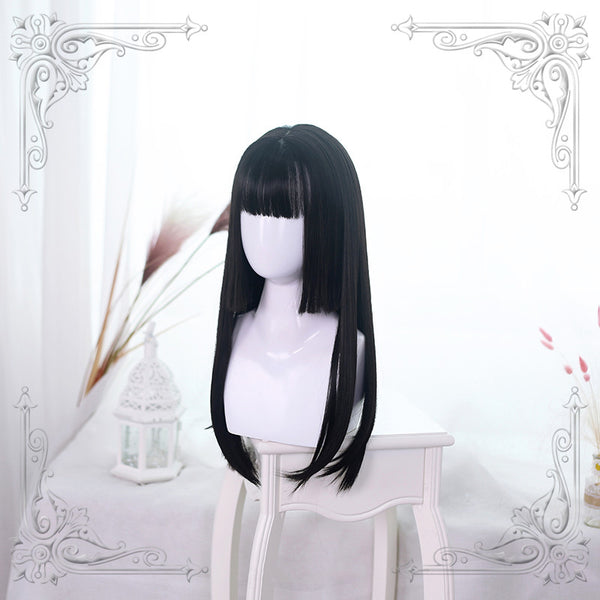 Lolita Natural black long straight wig  DB4349
