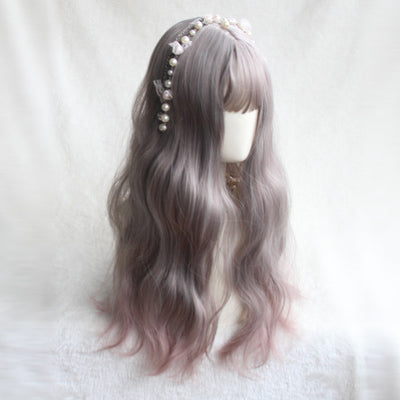 Gray-pink long-length wig DB4136