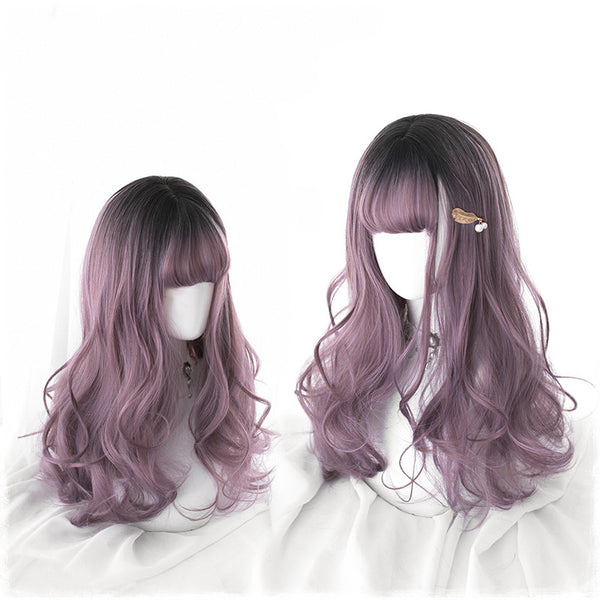 Lolita black gradient purple wig DB4871