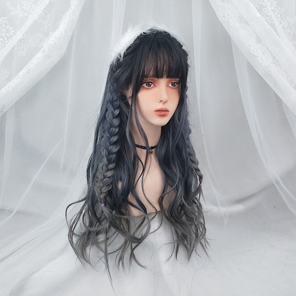 Harajuku blue gray gradient wig DB5480