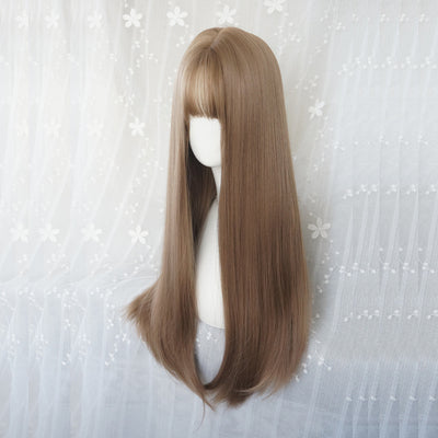 Gold brown long straight wig DB4111