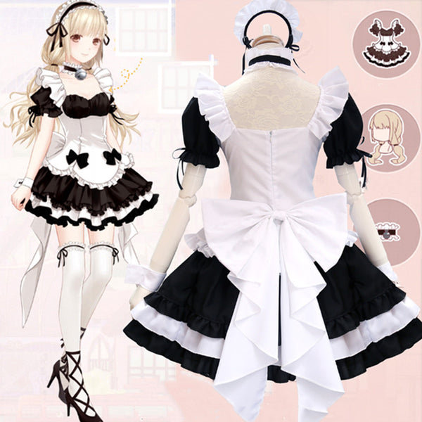 Lolita black and white maid dress suit DB6499