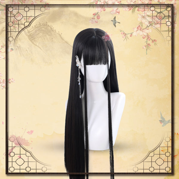 Natural black long straight wig  DB4335