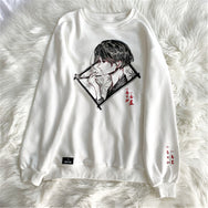 Couple's anime printed white sweater DB4958