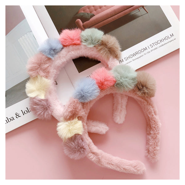 Colored hair ball headband DB4977