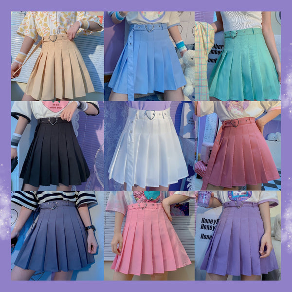 All-match high waist pleated skirt  DB6101