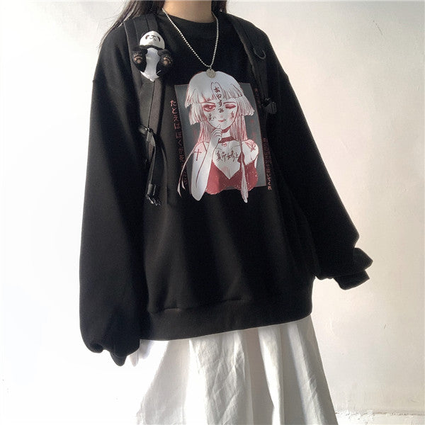 Dark Anime Print Sweatshirt DB4938