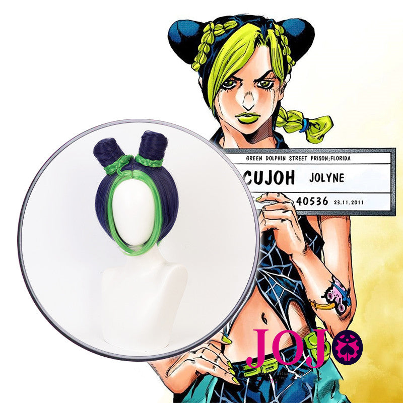 Jolyne Cujoh cos blue and green mixed wig DB5705