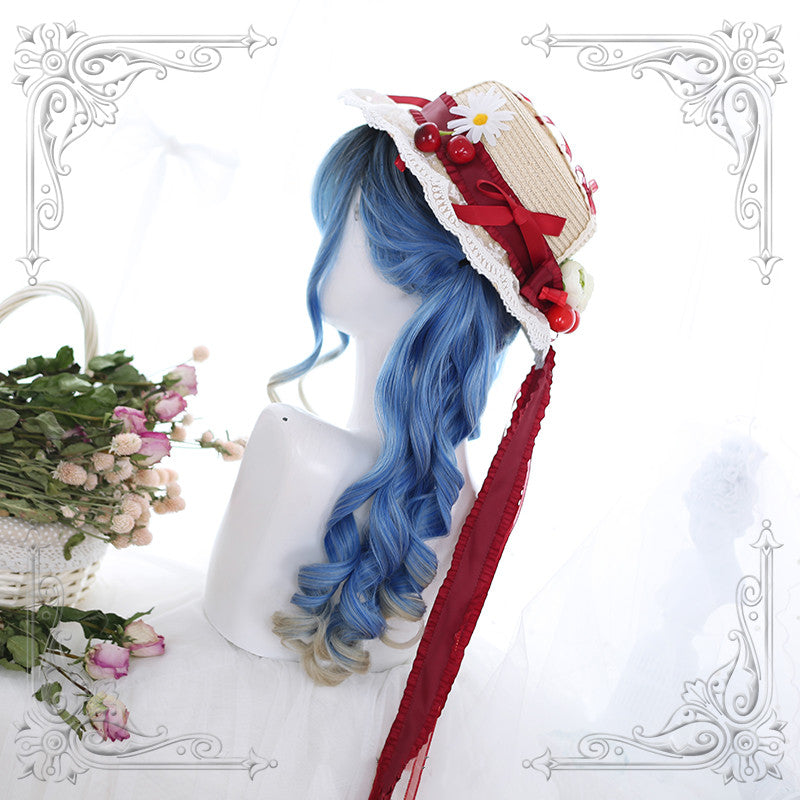 Lolita blue gradient long curly hair wig  DB4337