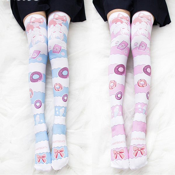 Donut printed lacquered socks DB4505