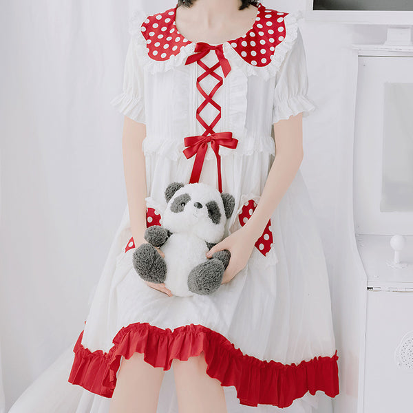 Cute red+white dress DB6042