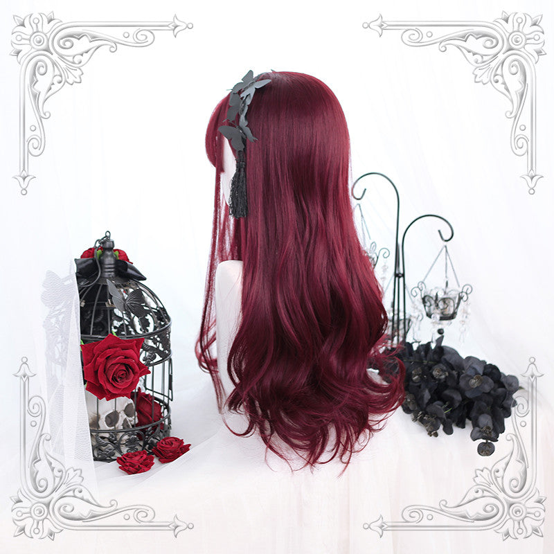 Lolita wine red long curly hair wig DB4356