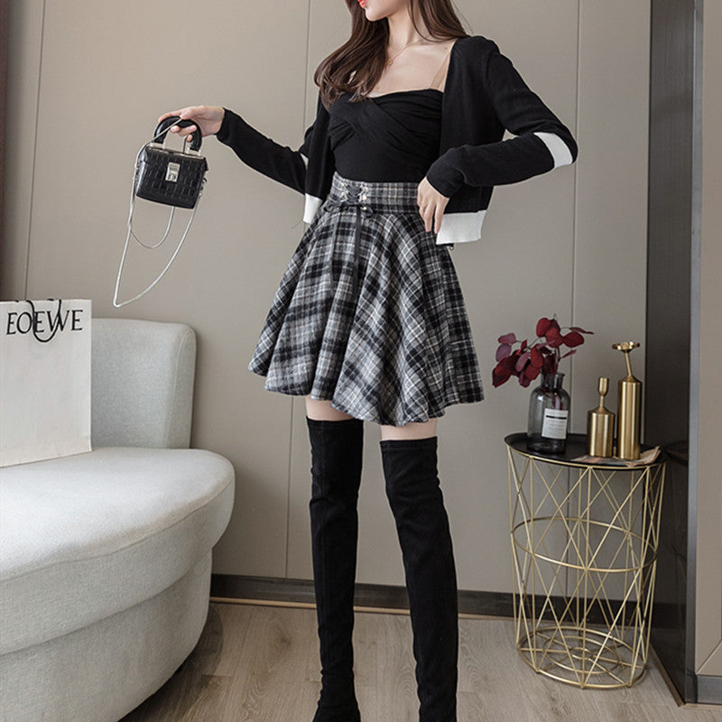 All-match plaid pleated skirt DB6418