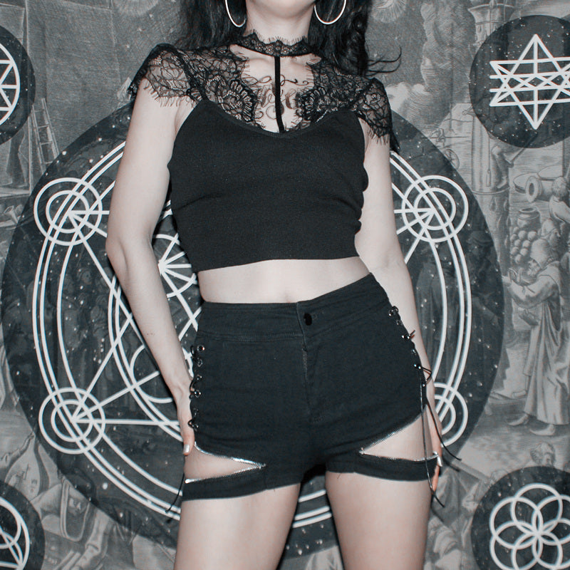 Dark openwork shorts DB4001