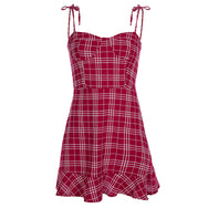 Sexy sling red plaid dress DB4811