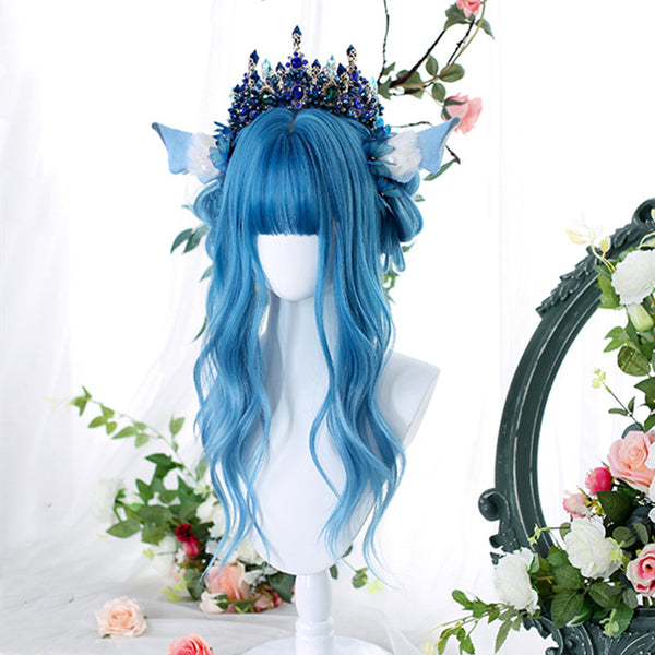 Blue long curly wig DB5450