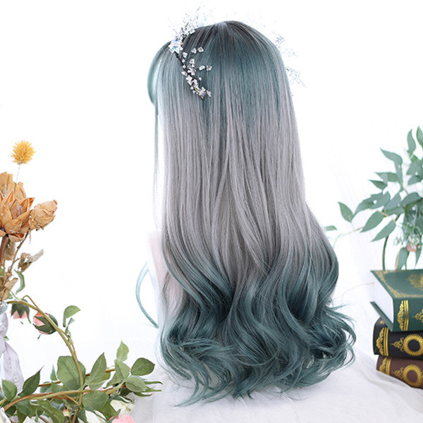 Harajuku Lolita Dark Green Gradient Long Curly Hair Wig DB5121