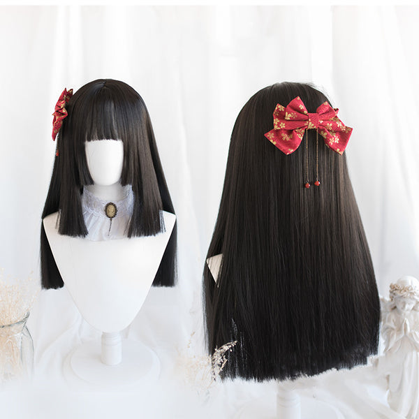 Lolita matte black long straight hair wig DB4791