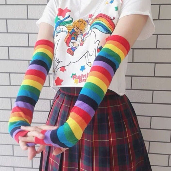 Rainbow knitted gloves DB5417