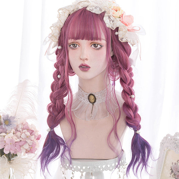 Raspberry powder gradient purple curly wig DB5708