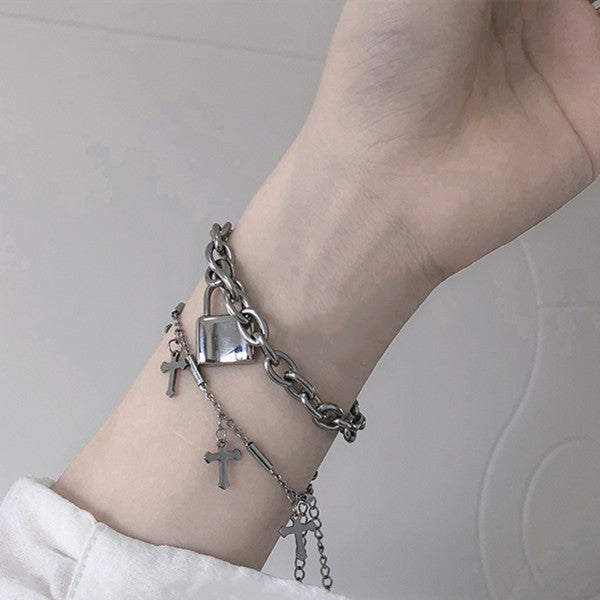 Punk cross and lock pendant bracelet DB5071