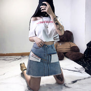 Punk irregular denim skirt DB4214