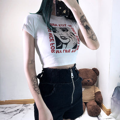 Punk high waist printed short t-shirt DB4155