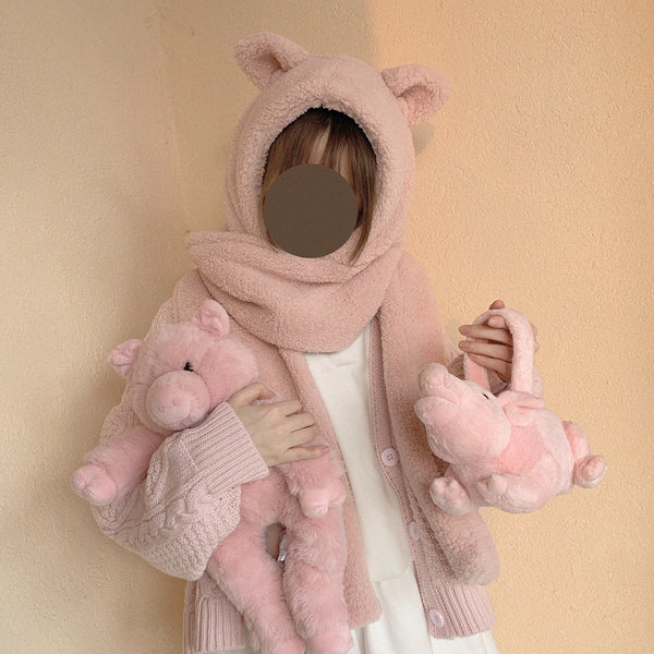 Cute pink piggy scarf DB6423