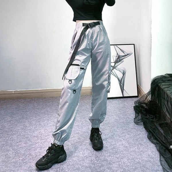 Silver gray high waist pants DB6452
