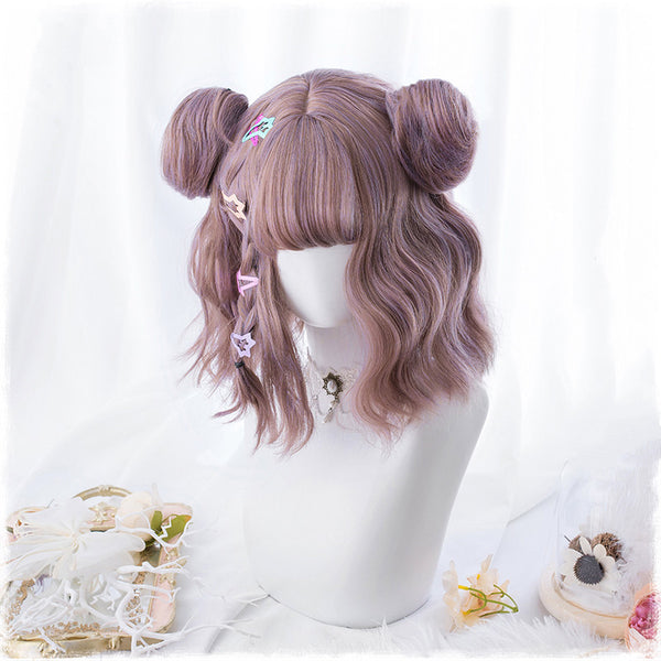 Harajuku Lolita mixed color short curly hair wig DB4888