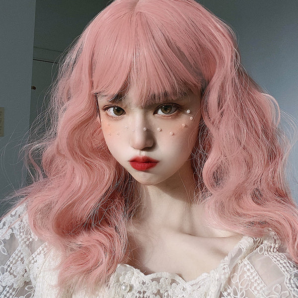 Lolita pink mid-length curly wig DB6271