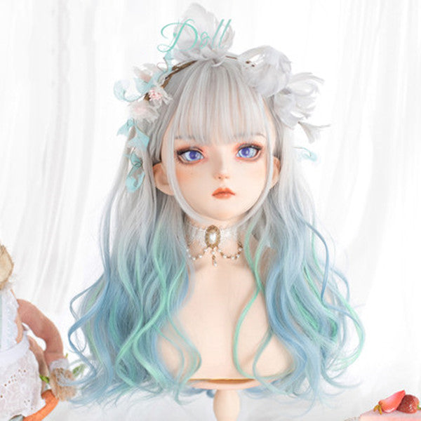 Harajuku silver and white gradient long wig DB5610