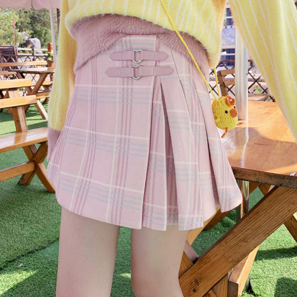 All-match plaid pleated skirt DB6045