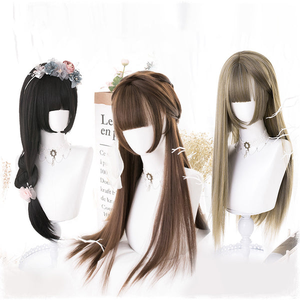Lolita natural color long straight wig DB4875