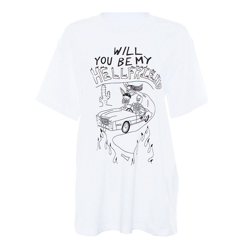 White skull print short sleeve T-shirt DB5314