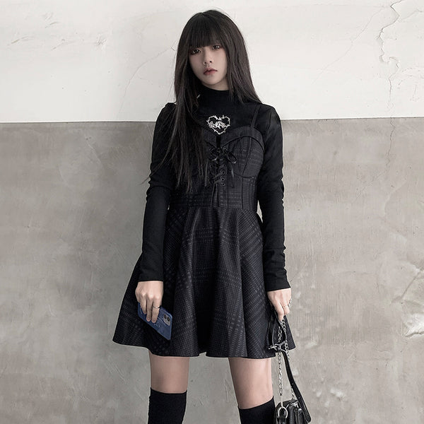 Black suspender skirt + top DB6227