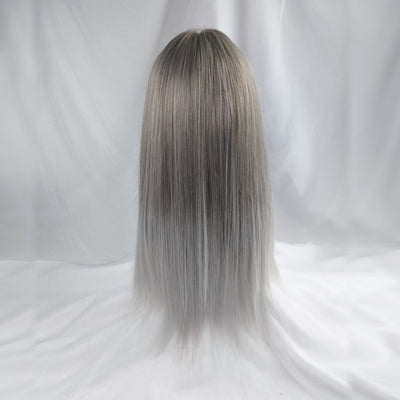 Silver gradient white long straight wig DB4124
