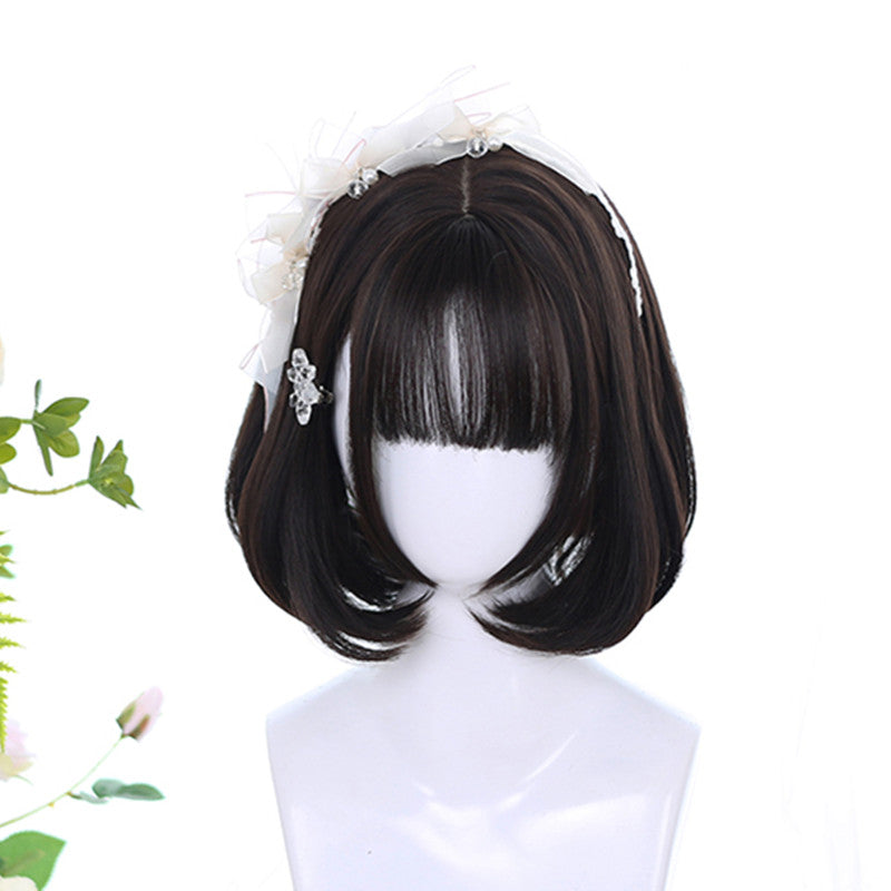 Lolita silver gray gradient blue short wig DB5216