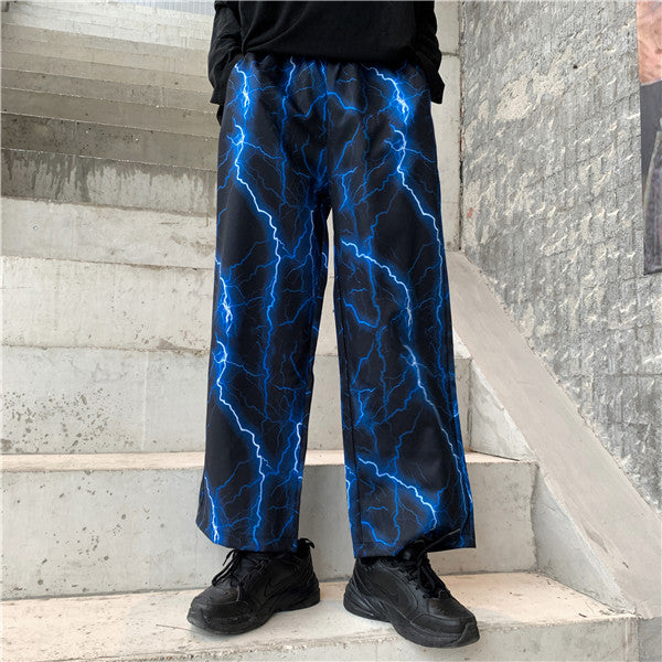 Punk Lightning Print Wide Leg Pants DB5141