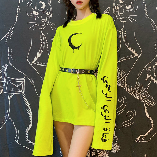 Moon embroidered green long T-shirt DB5322