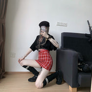 Punk red plaid skirt, short T-shirt DB4243