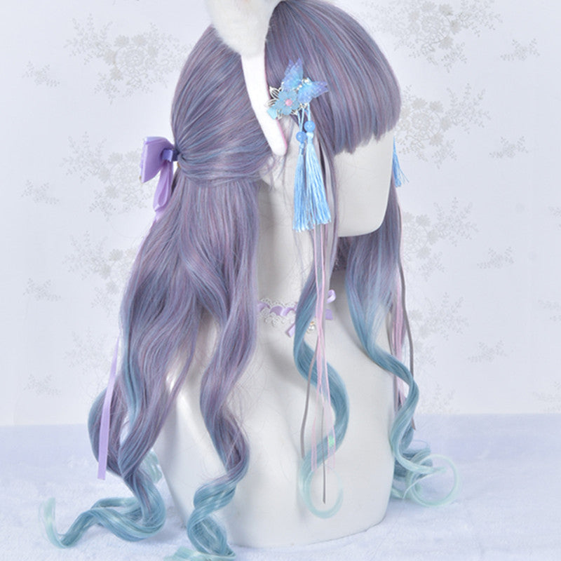 Lolita purple and blue mixed color gradient wig DB5847