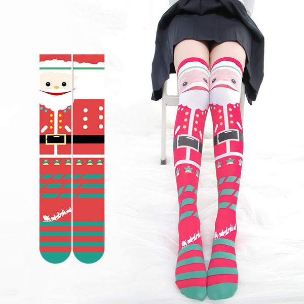 Christmas print over knee socks DB4929